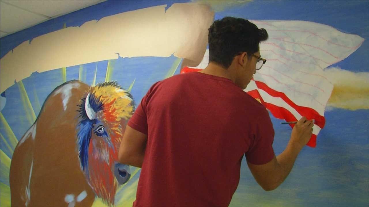 Student Paints Mural Inside OKC School