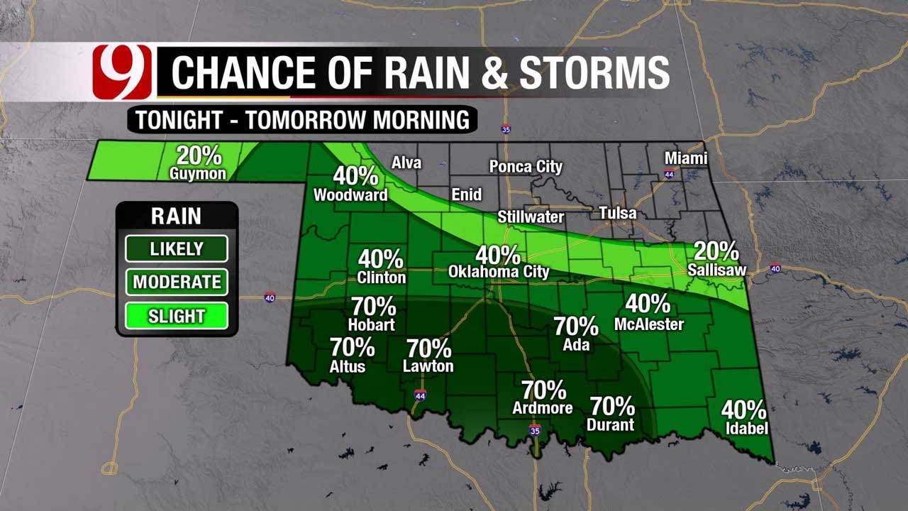 More Rain, Storms On The Way For Oklahoma Overnight Into Monday