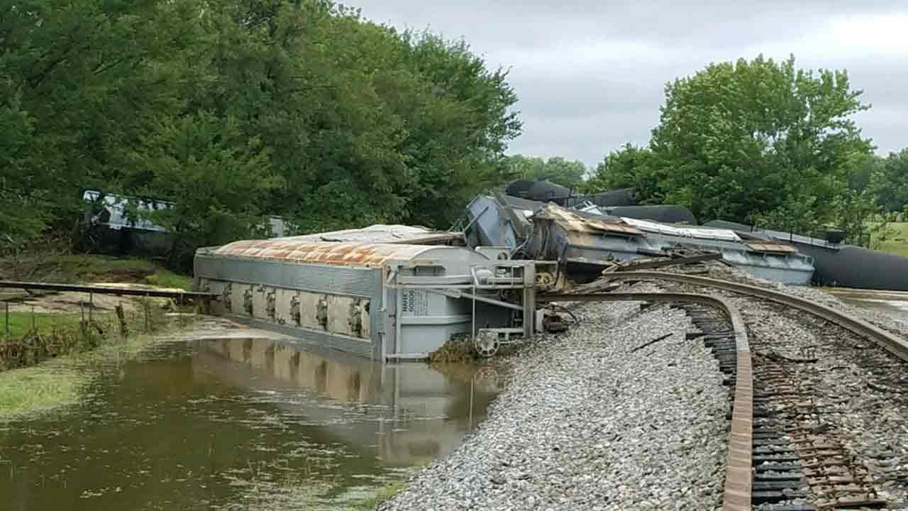 Heavy Rains Blamed For Sequoyah County Train Derailment