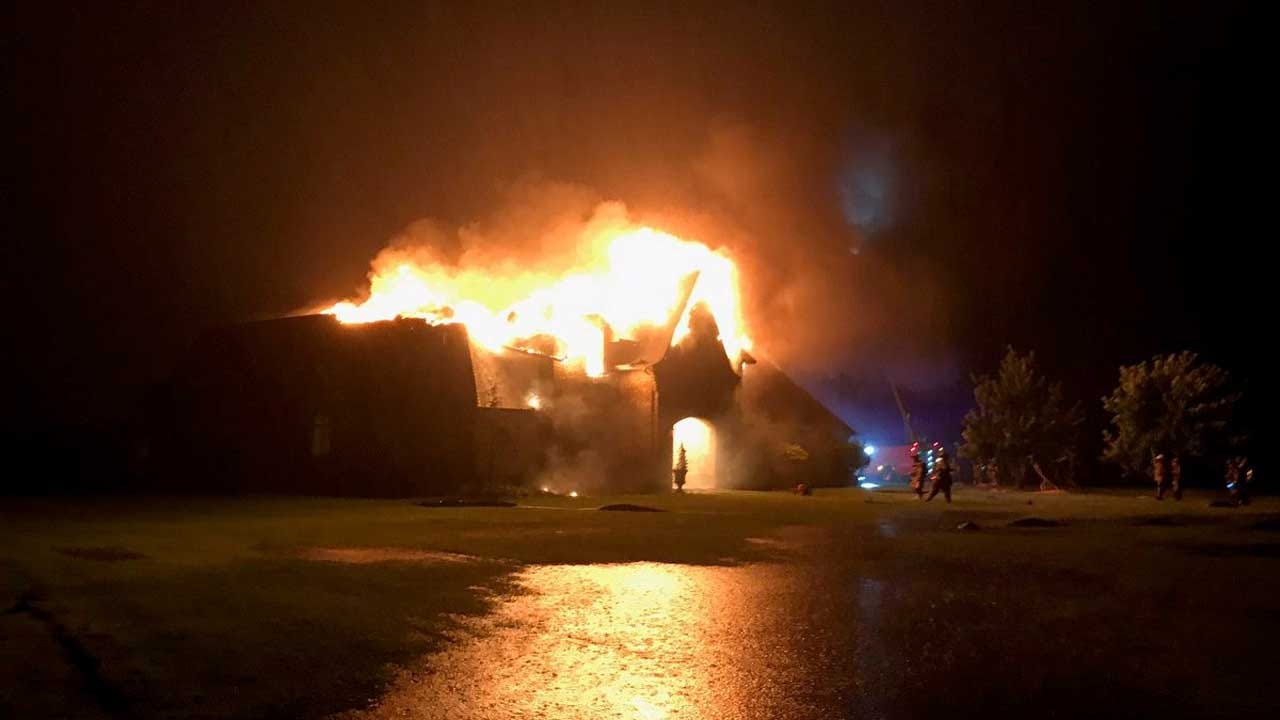 Firefighters Battle Large House Fire In Norman