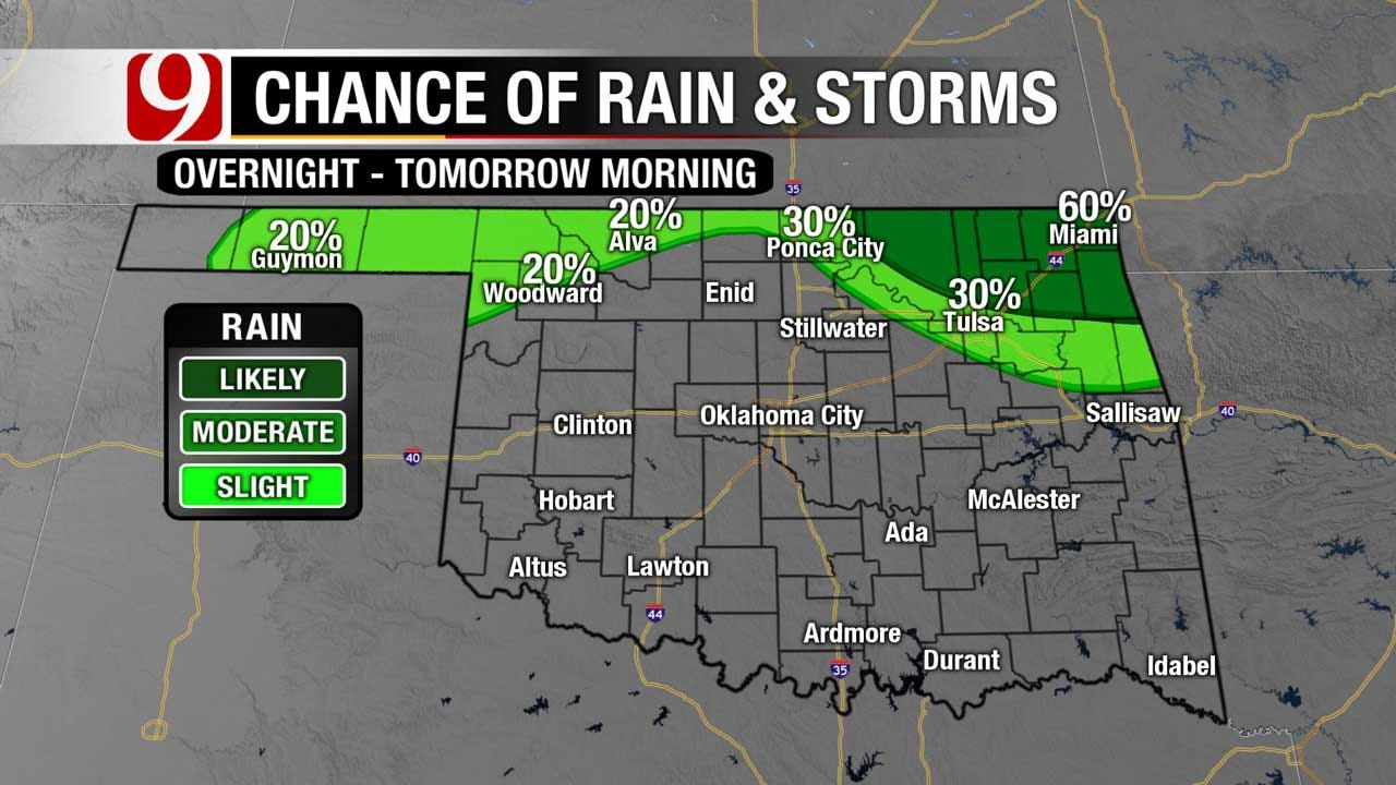 Mostly Clear Skies, Light East Winds For Central OK
