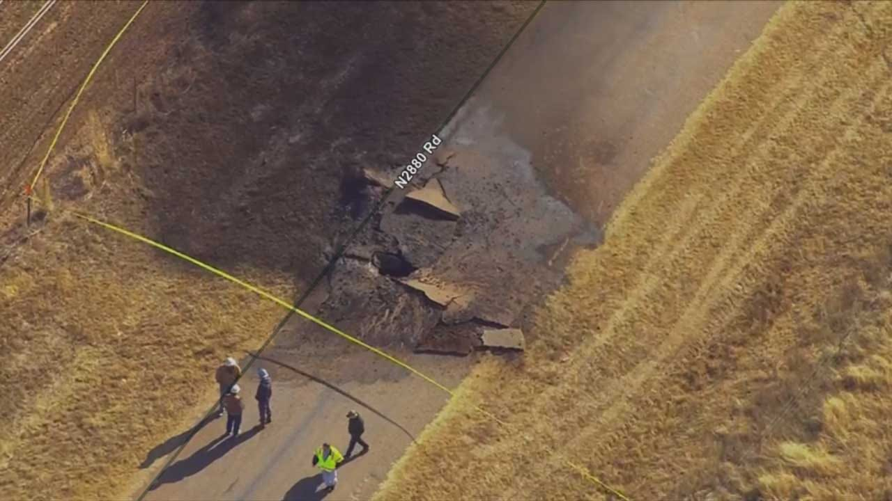 Road Damaged After Gas Line Explosion In Kingfisher