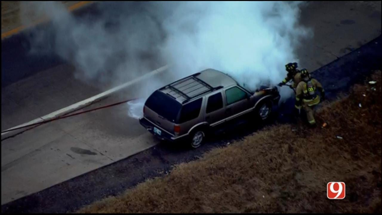 Crews Respond To Vehicle Fire On I-40 West Of Yukon
