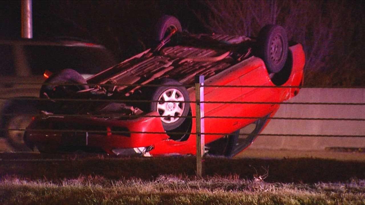Emergency Crews Respond To Rollover Crash On EB I-44
