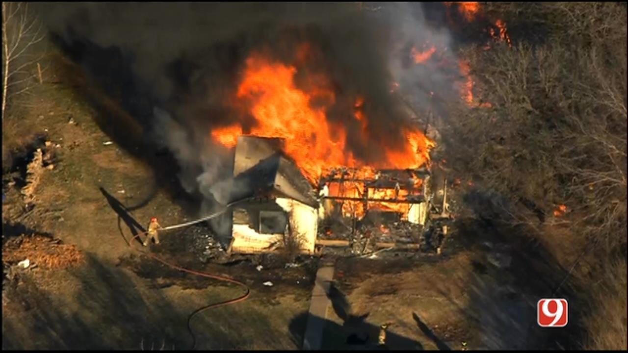 Crews Battle House Fire In Spencer