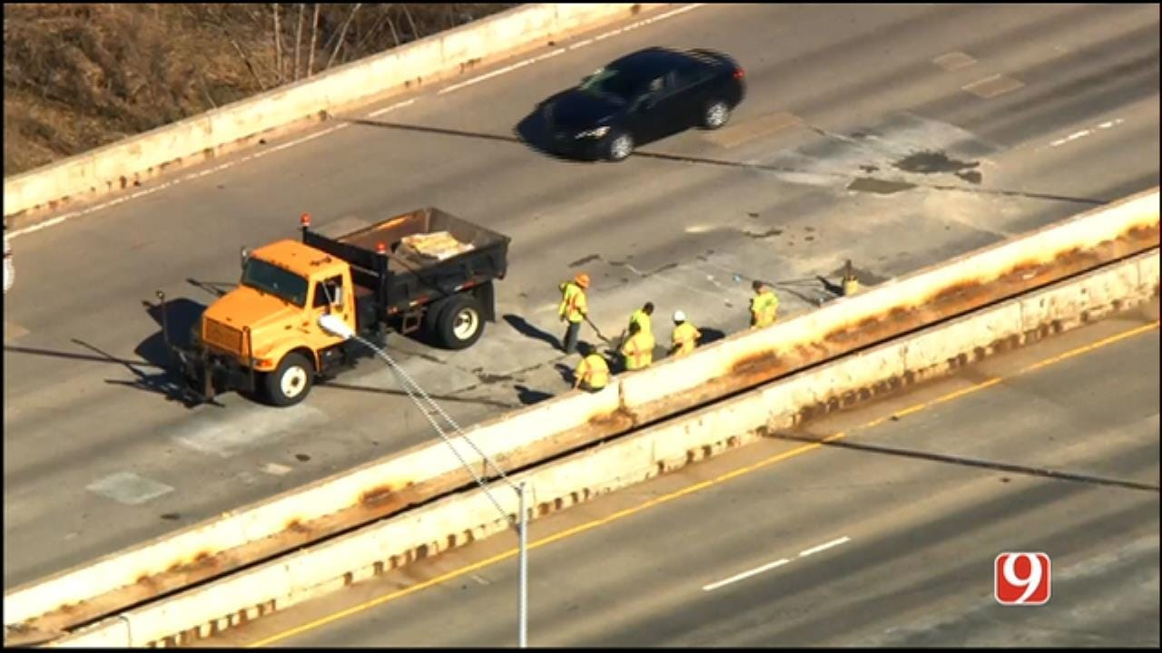 All Lanes Of WB I-40 In Del City Re-Open After Bridge Hole Repaired