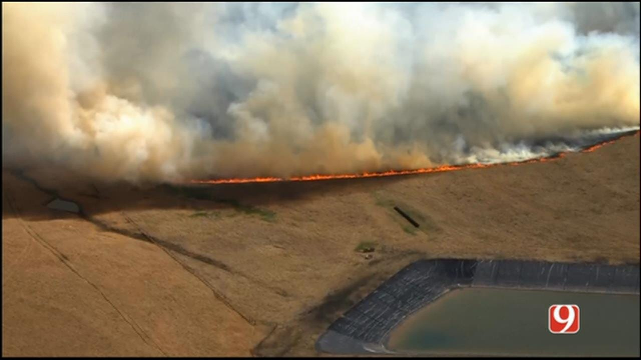 Crews Battle Wildfires Along HE Bailey Tpk South Of Chickasha