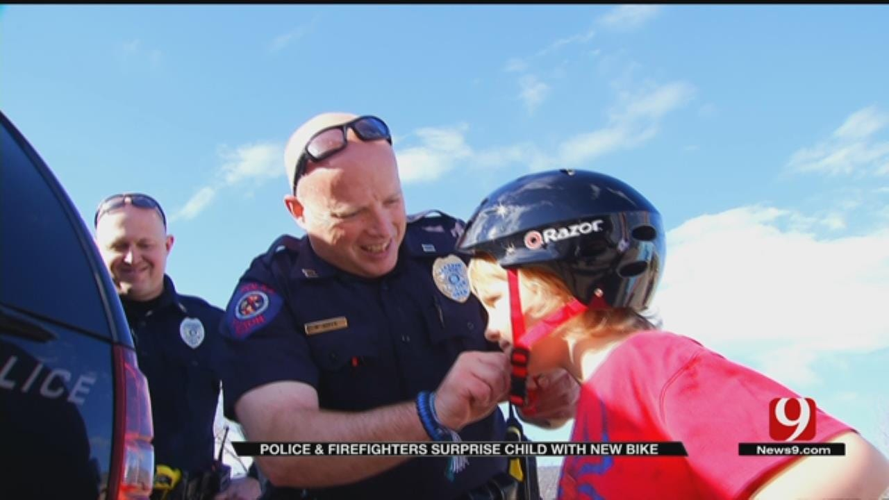 Yukon Police, Firefighters Team Up To Replace Boy's Bike