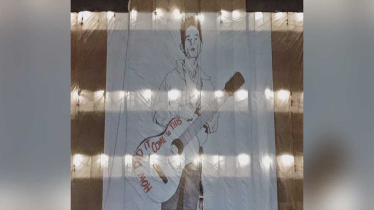 Artist Projects Work Onto State Capitol Tarp