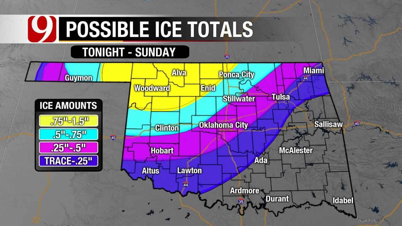 Freezing Rain, Ice Still Barreling Toward Oklahoma