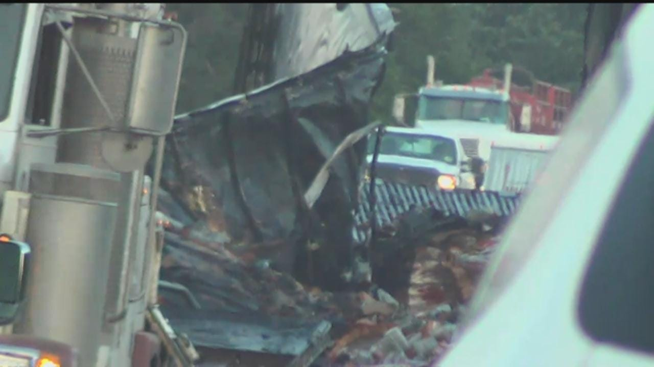 One Fatality In Fiery Semi Crash On I-40 In Canadian County