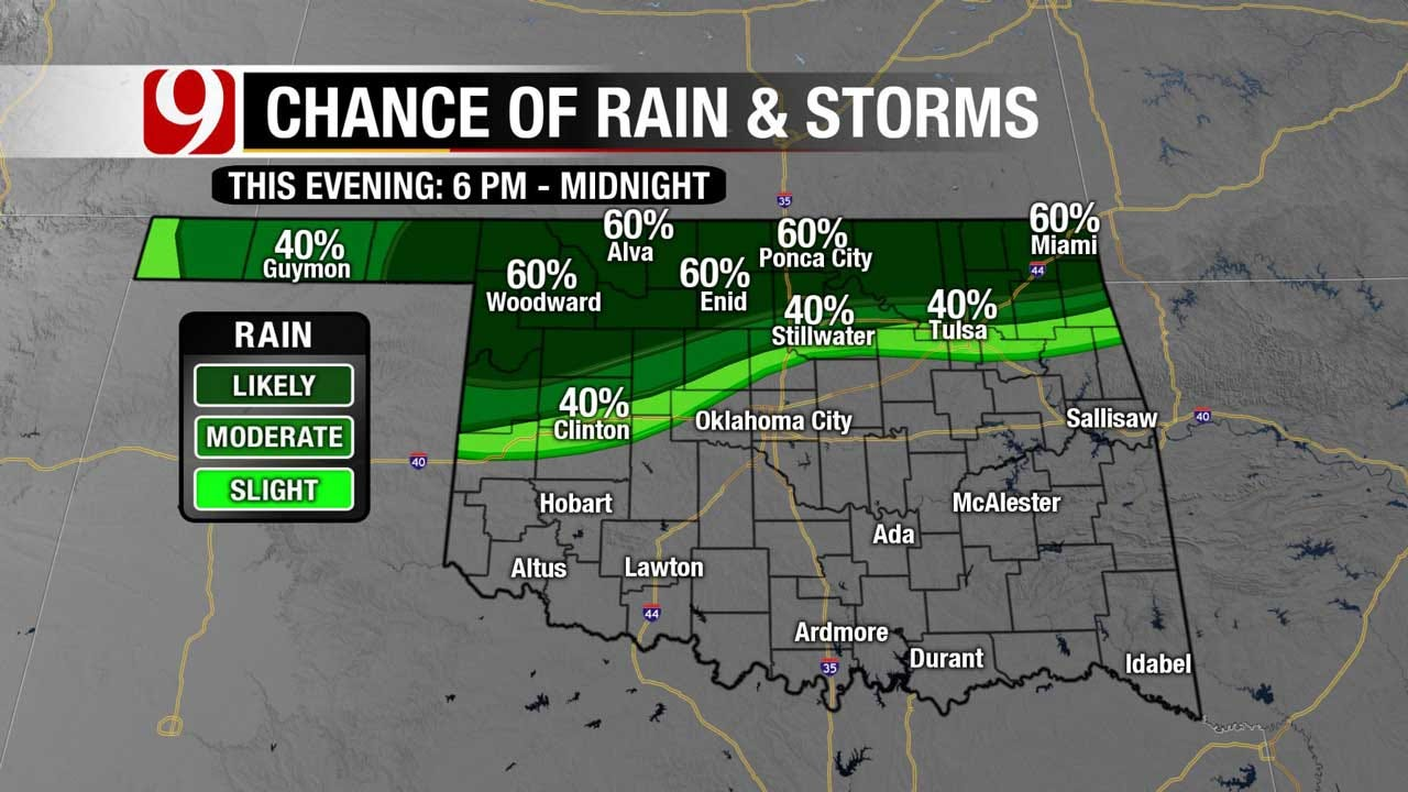 Shower, Thunderstorms Possible For Northern And Central OK Friday Evening