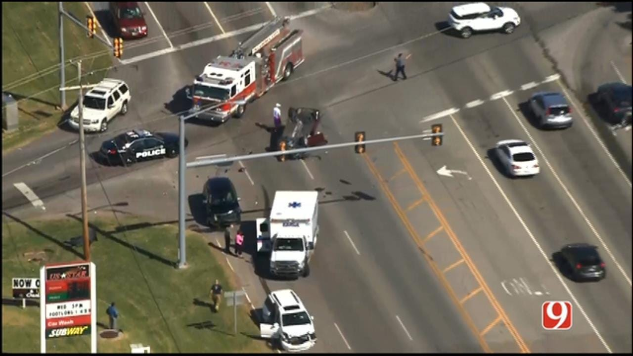 Injuries Reported After Multi-Vehicle Rollover Wreck In Far NW OKC