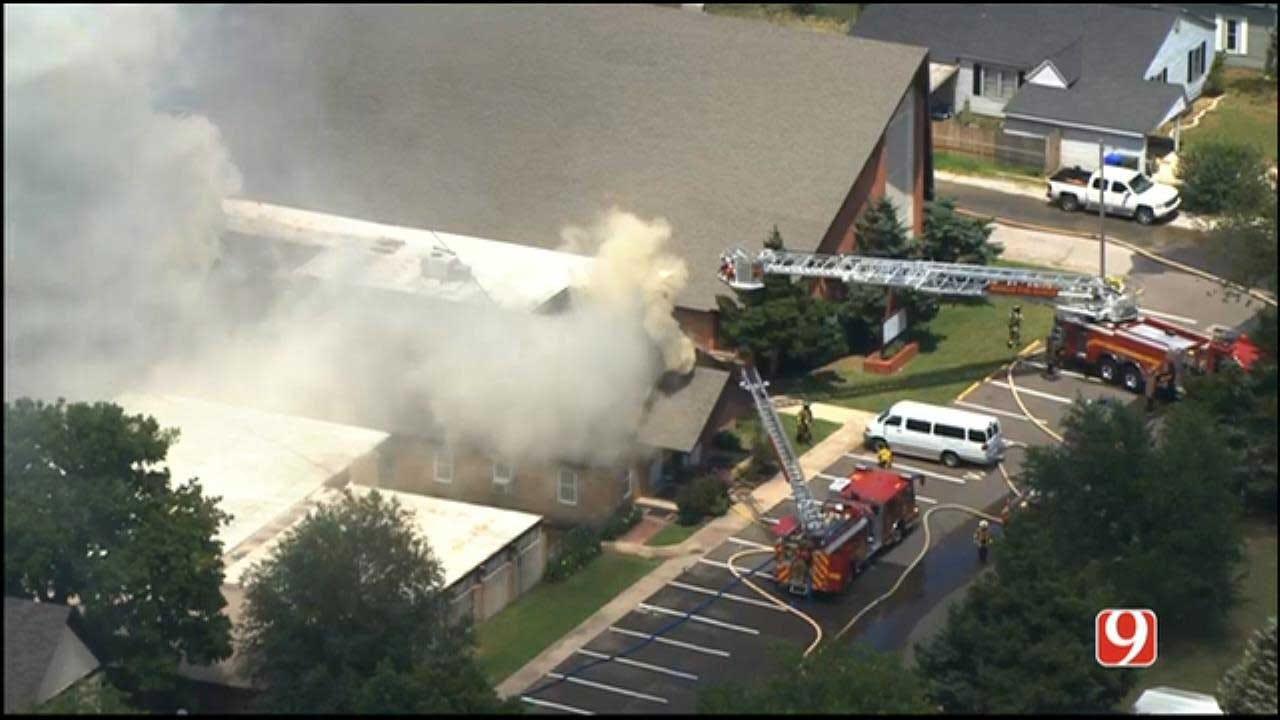 Firefighters Battle Blaze At Norman Church