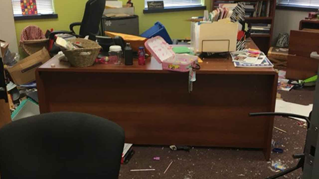 OKCPS Assess Damage Left By Vandals At Metro School
