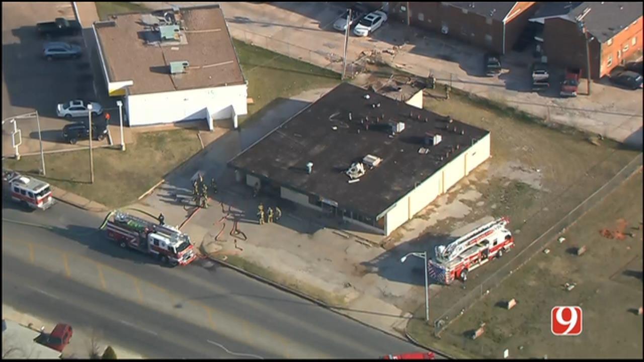 Firefighters Battle Blaze At Abandoned Building In SW OKC