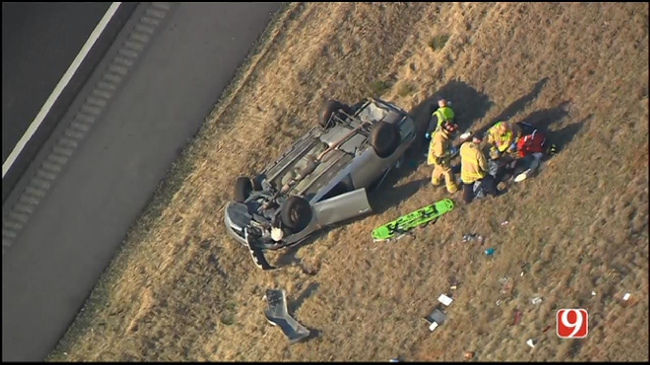 Emergency Crews At Scene Of Rollover Accident on Turner Turnpike