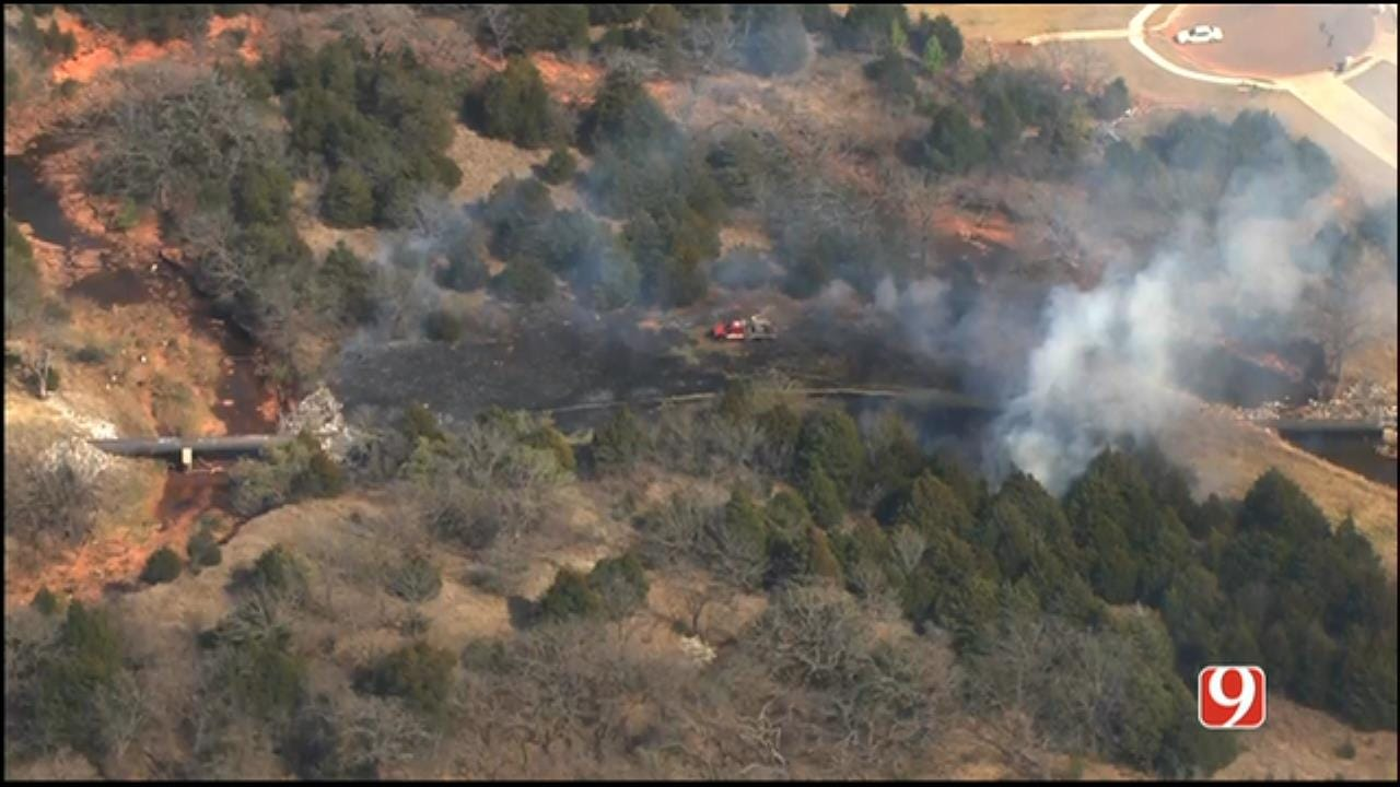 Crews Battle Wildfire In West Edmond