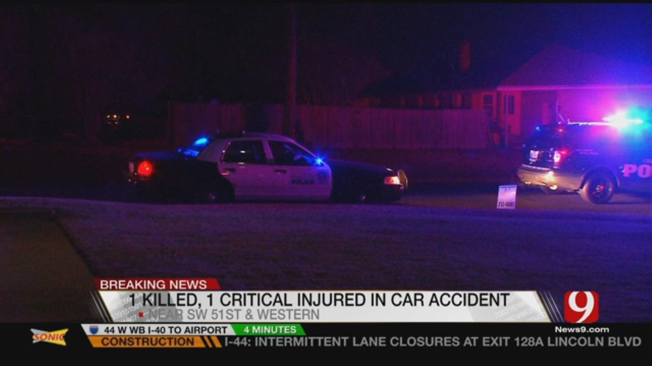 One Dead, One Critical After Car Slams Into SW OKC Home