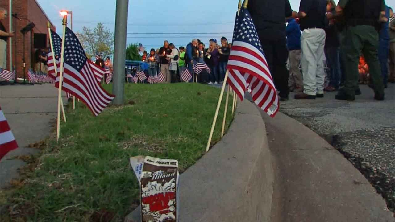 Tecumseh Community Holds Candlelight Vigil For Fallen Officer