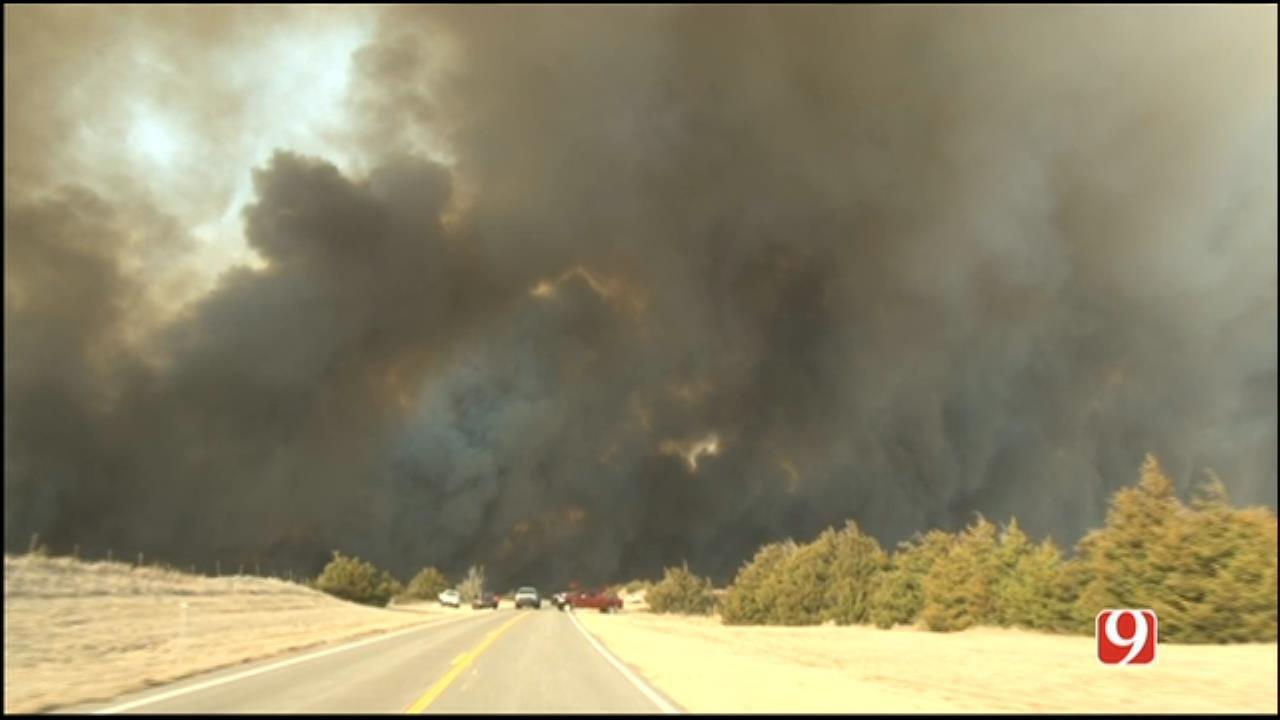 Wildfires Burn NW OK Into Kansas, Prompt Evacuations