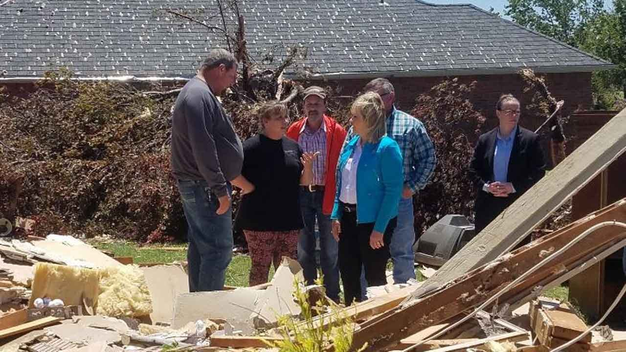 Fallin Tours Elk City Tornado Damage