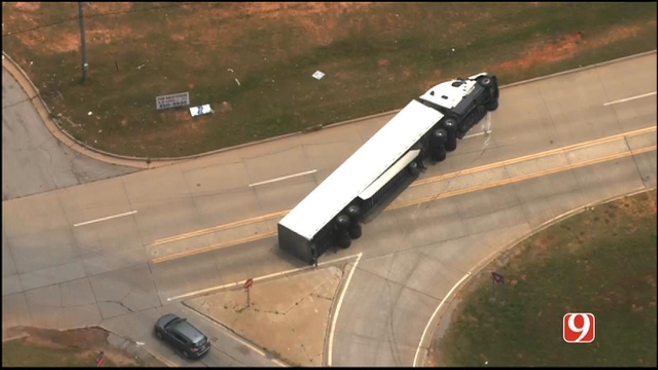 Semi Involved In Rollover Wreck Near I-35 In NE OKC