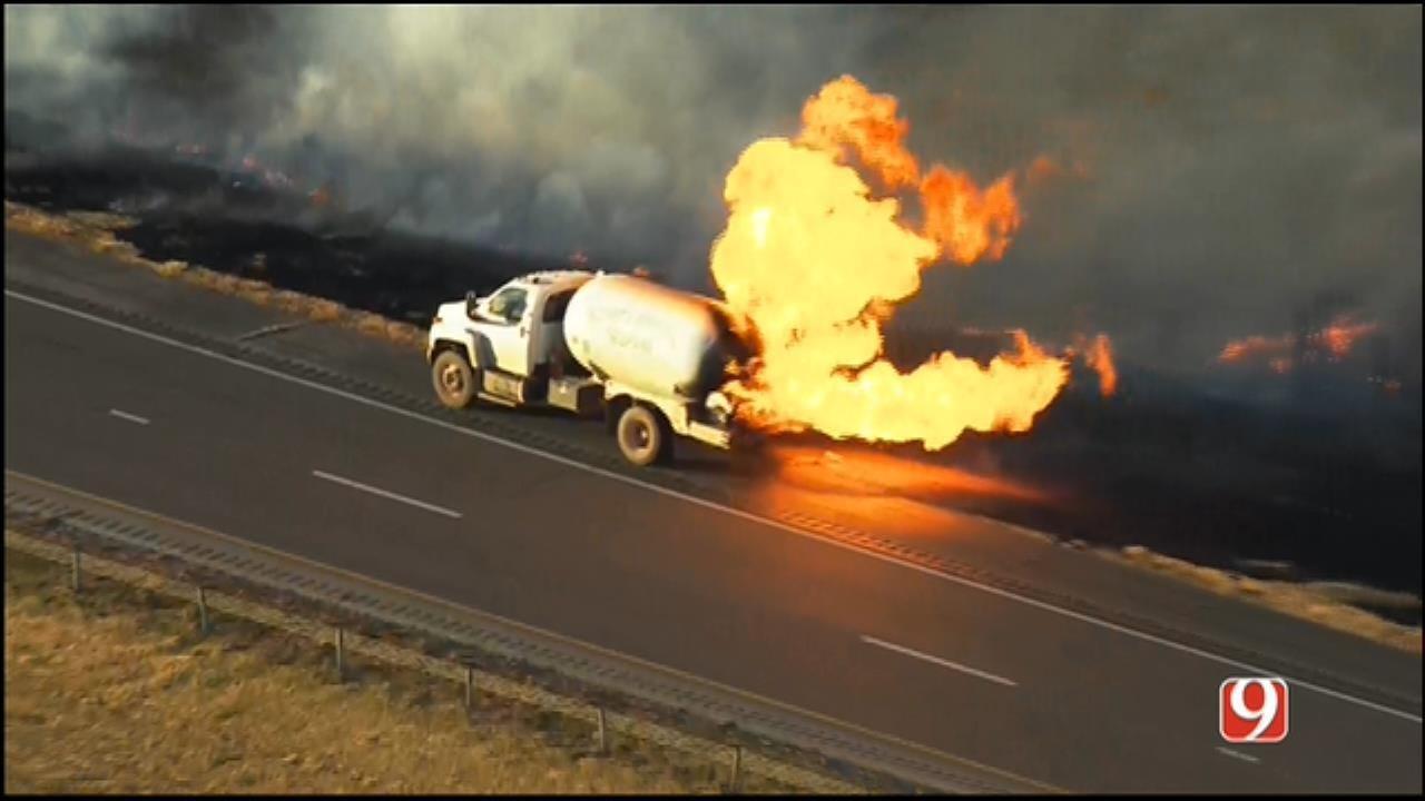 Crews Battle Propane Truck Fire West Of El Reno