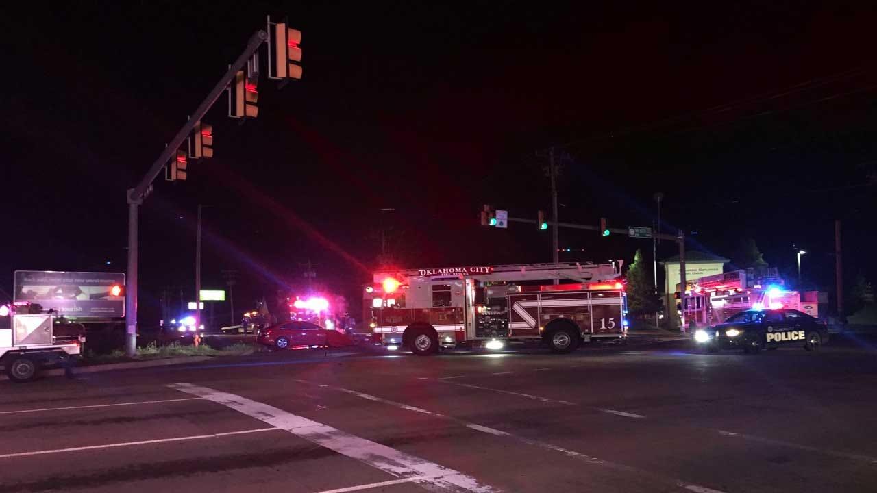 Emergency Crews Respond To Car Crash In NW OKC Tuesday Night