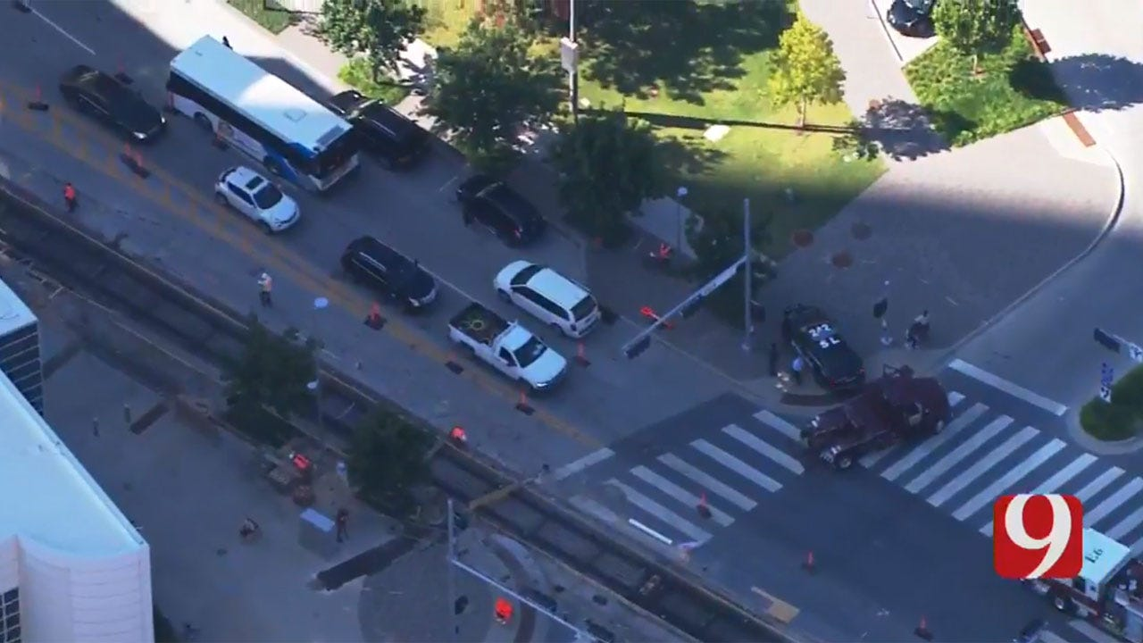 Crews At Scene Of Downtown OKC Accident Involving City Bus
