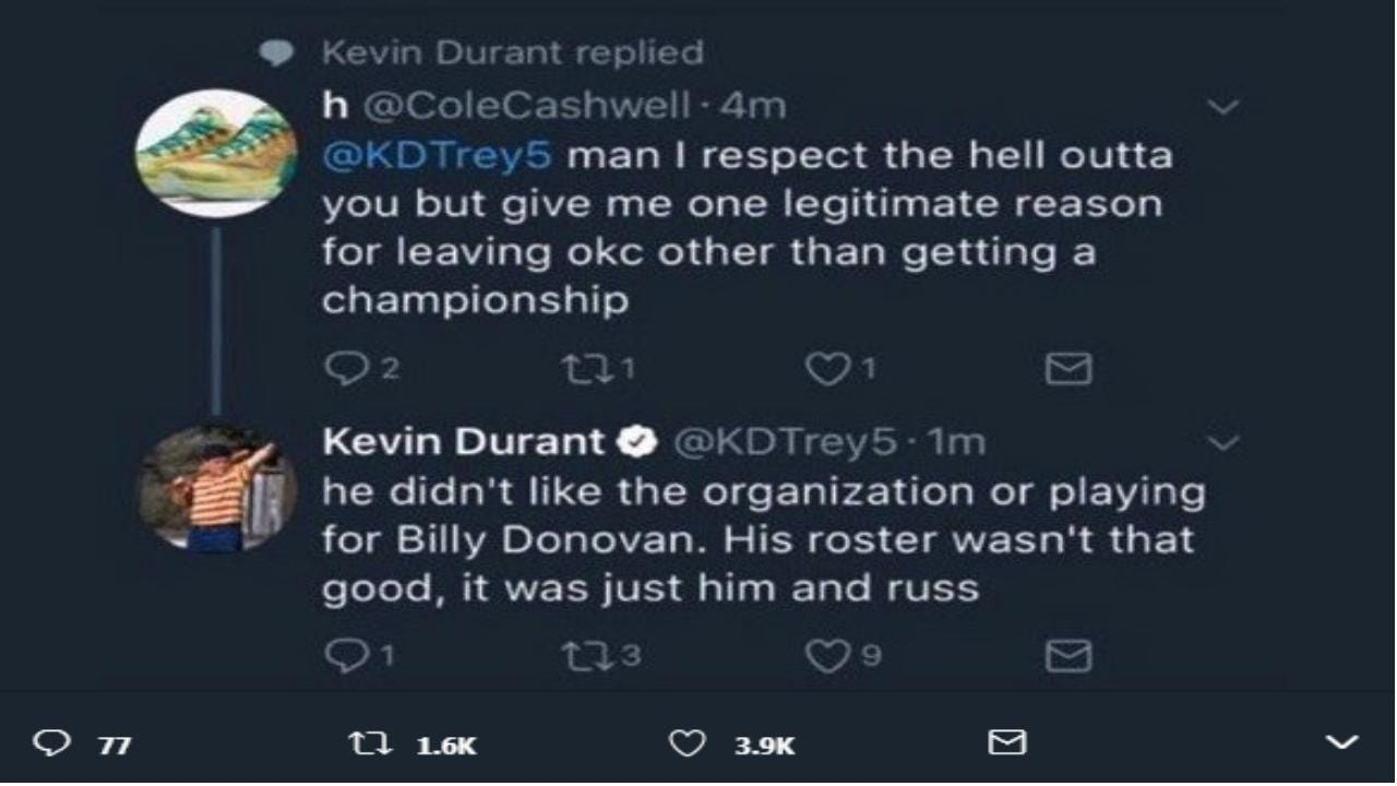Kevin Durant Blasts Former Teammates, Billy Donovan On Twitter