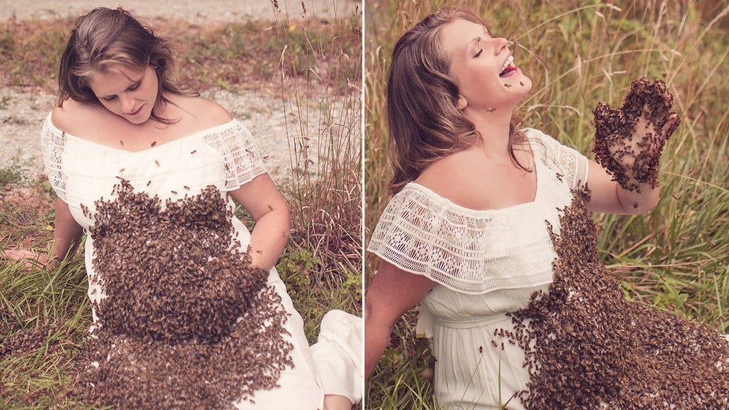 Woman Takes Maternity Photo Shoot With 20,000 Bees