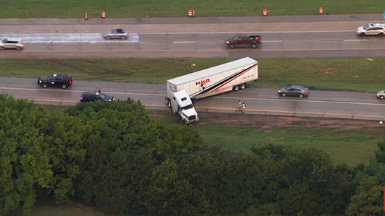 OHP Respond To Jack Knifed Semi Along Turner Turnpike Near I-35 SB