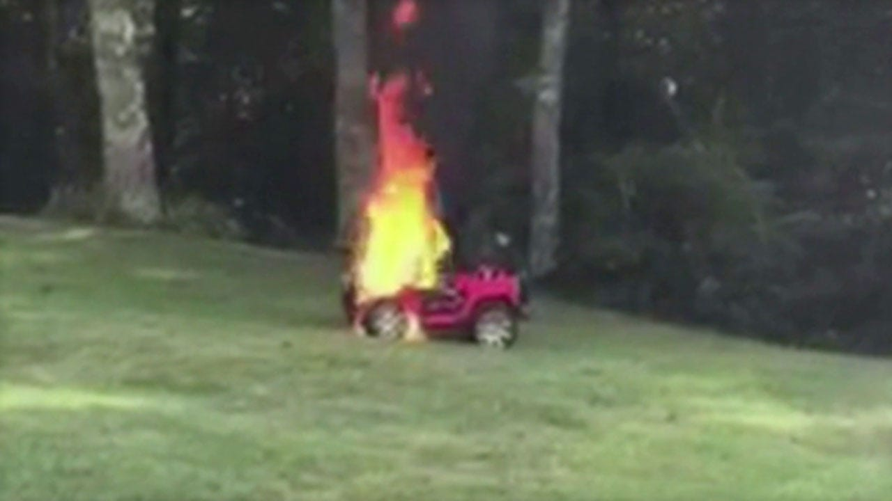 Mother Yanks 2 Children From Electric Toy Car Before It's Engulfed In Flames
