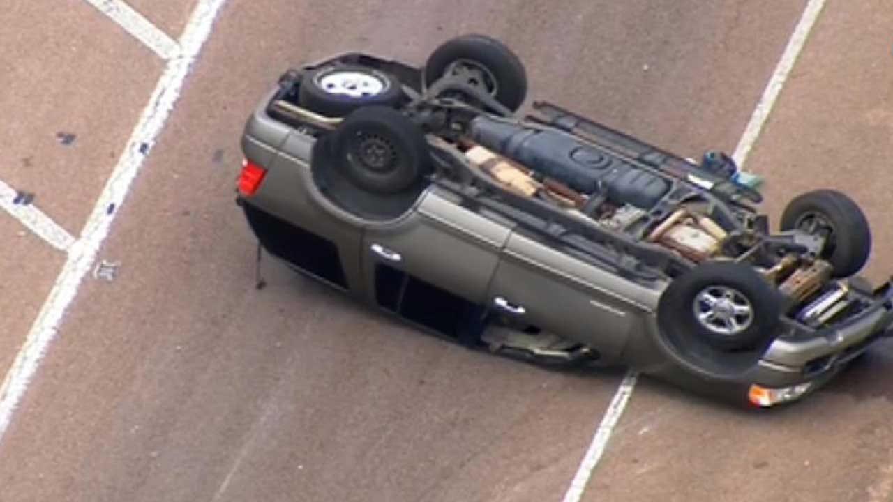 OKC Emergency Crews Respond To Rollover Crash On I-40 Near Tinker