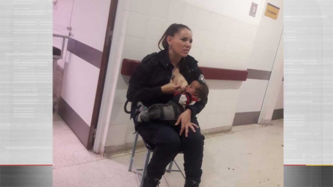 Police Officer Breastfeeds Neglected Baby, Photo Goes Viral