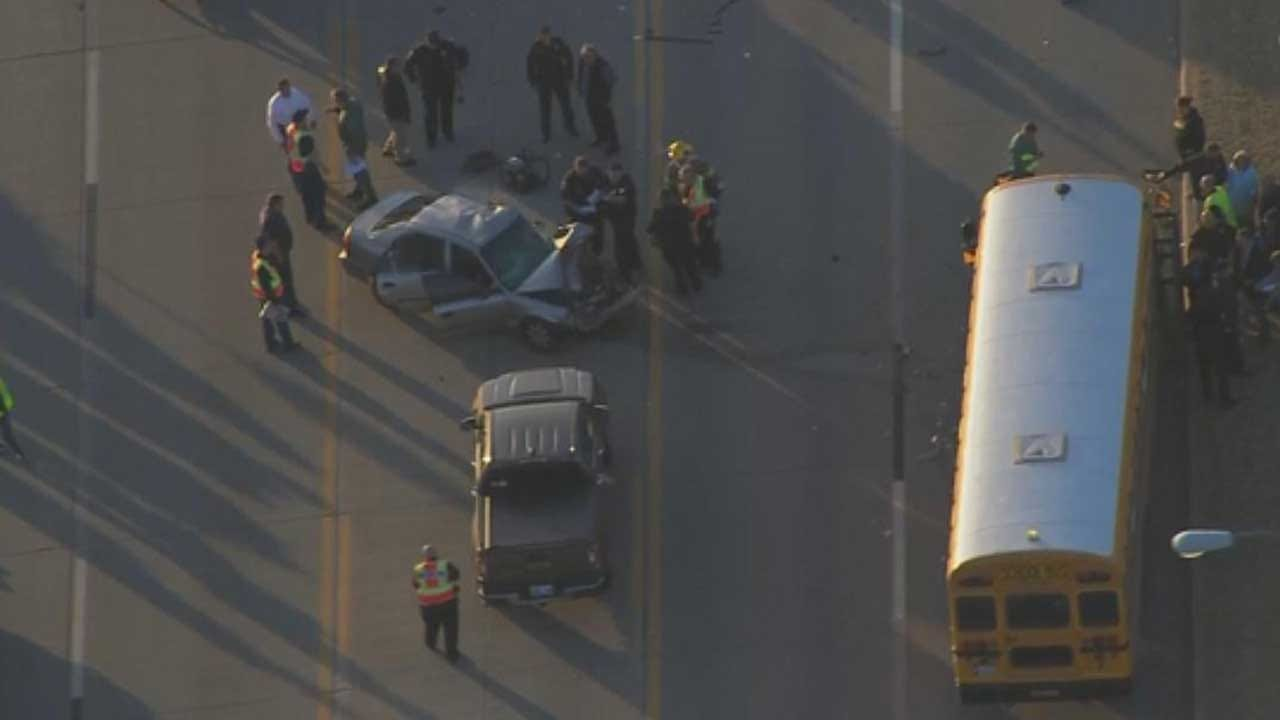 Injuries Reported In Mustang Crash Involving School Bus
