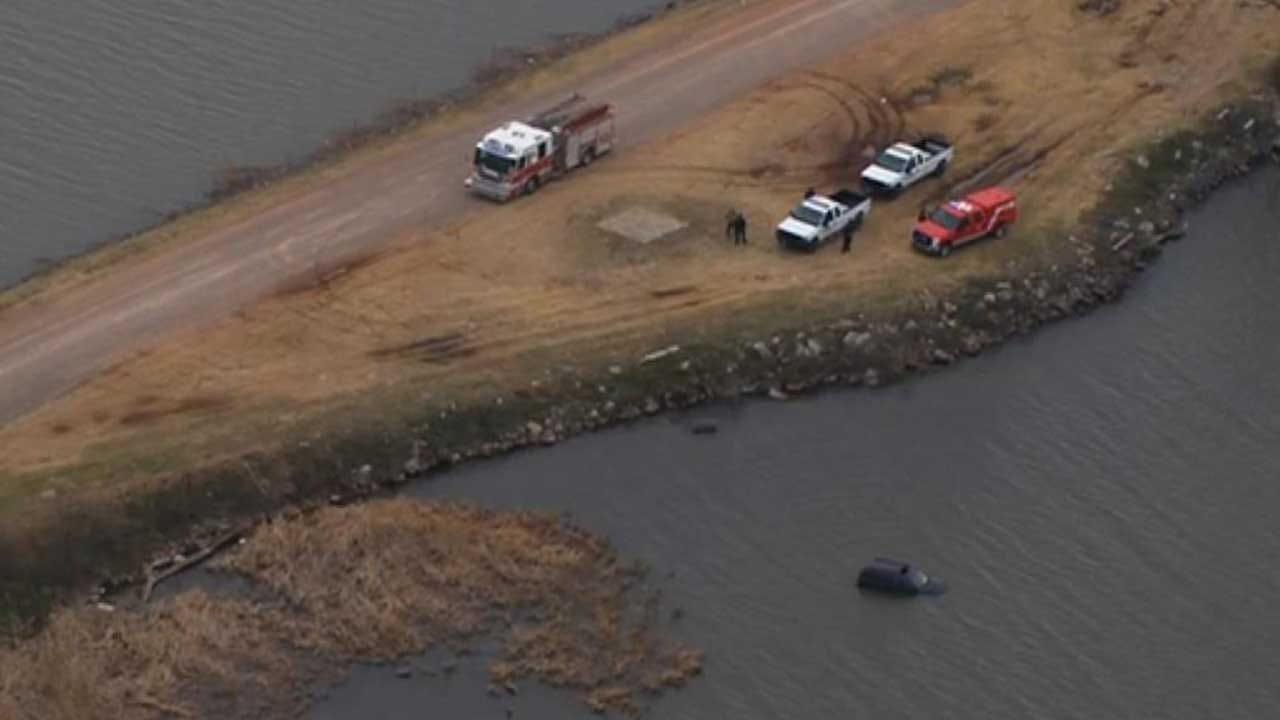 Firefighters Respond After Vehicle Drives Into Lake Overholser