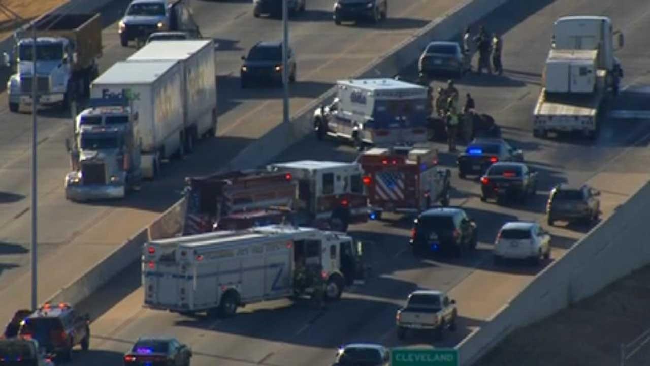 Multiple-Vehicle Crash Involving Tractor-Trailer Tied Up Traffic On SB I-35