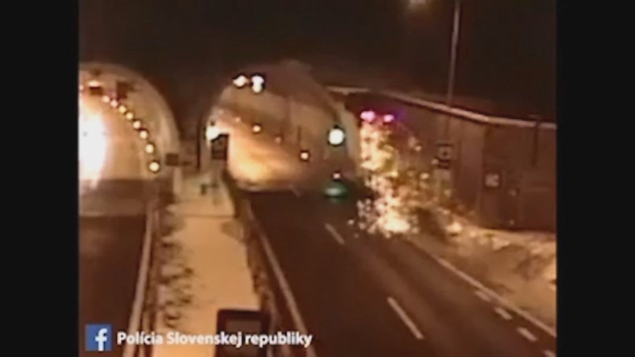 Caught On Camera: Car Crashes Into Top Of Tunnel
