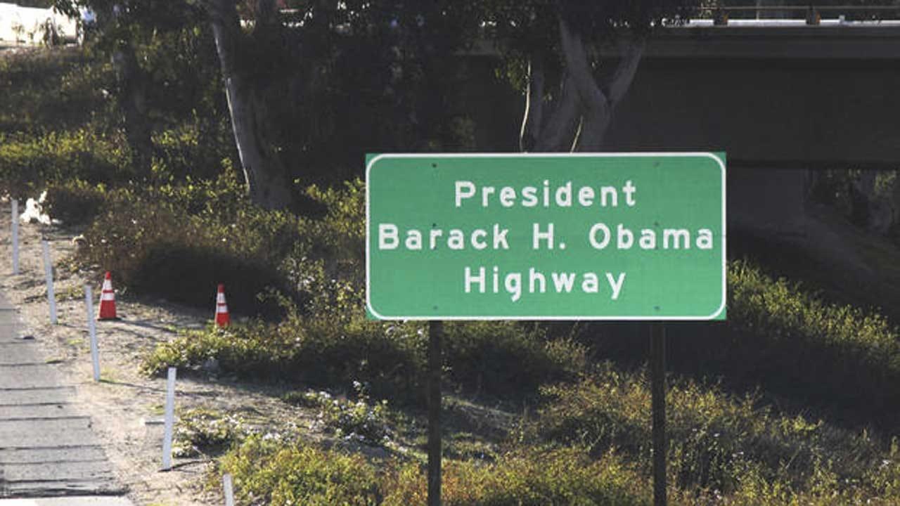 Signs Go Up Naming California Highway After Barack Obama