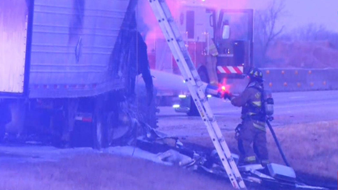 Crews Respond To Semi Fire Along I-40 Near Midwest City