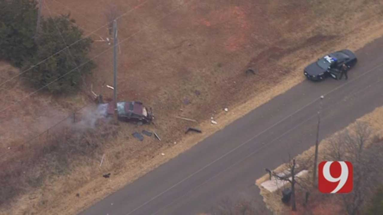 Vehicle Crashes Into Light Pole, Ending OKC Metro Area Police Chase