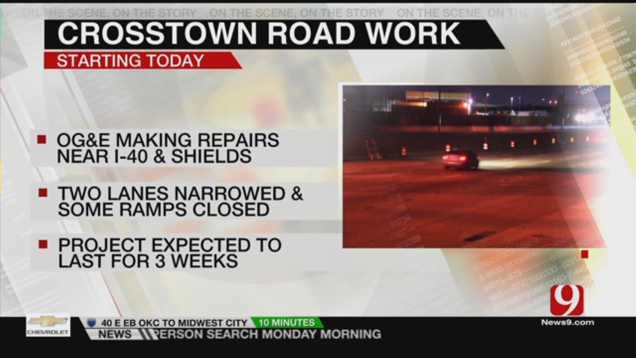 Traffic Delays Expected As OG&E Crews Make Repairs Along I-40