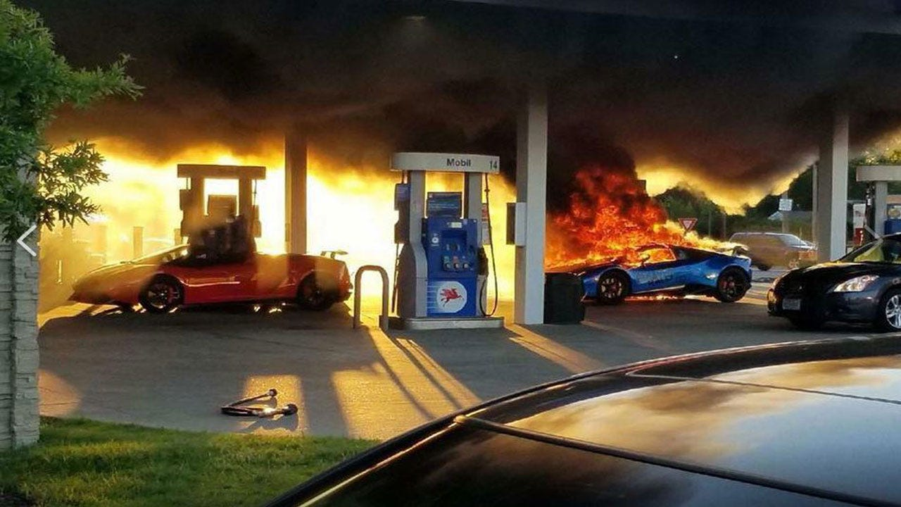 Lamborghini Goes Up In Flames After Minivan Tears Off Gas Nozzle