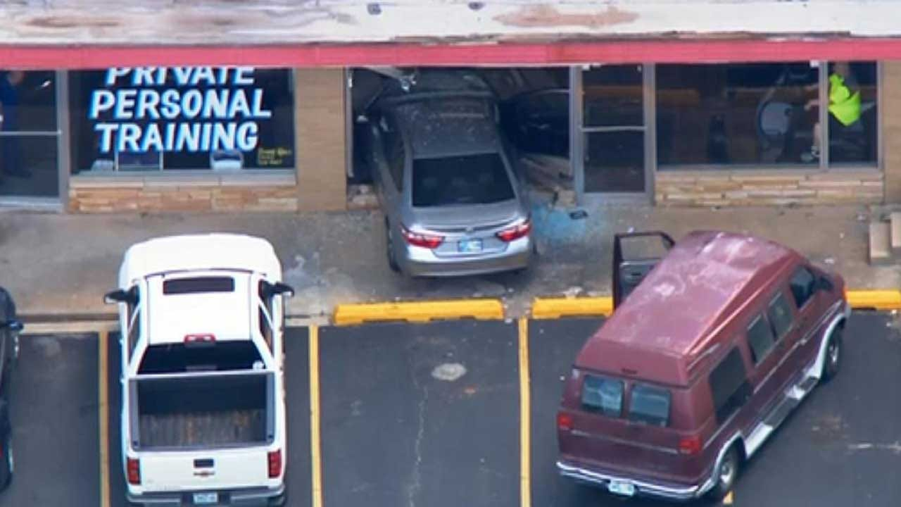 Car Drives Through Glass Of NW OKC Business