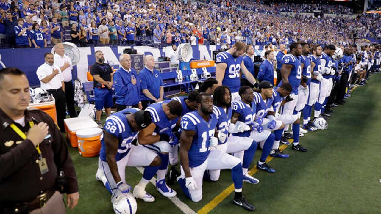 NFL Players Raise Fists, Kneel And Stay Off Field During National Anthem