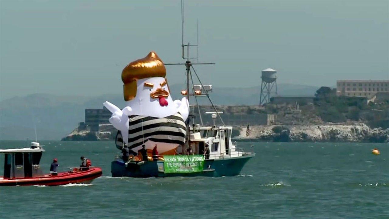 Trump Chicken Sails Along San Francisco Waterfront