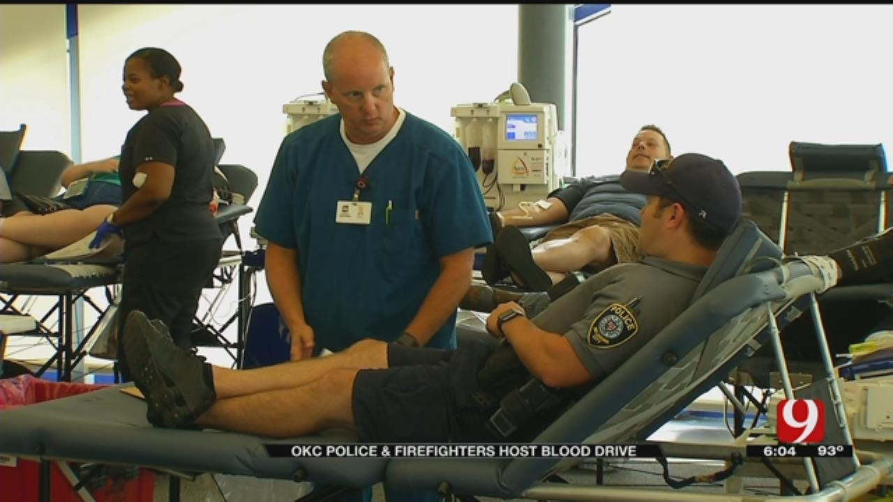 OKC Police And Firefighters Team Up To Host Blood Drive