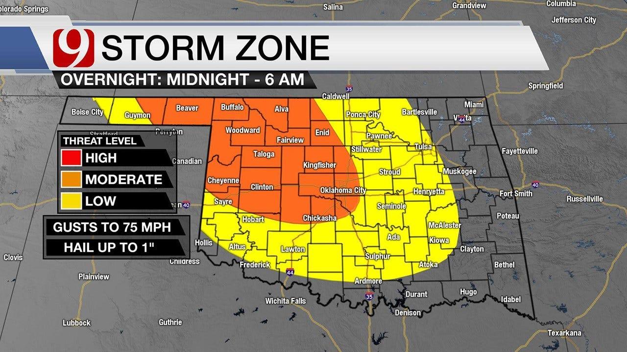 Storms Likely Across Oklahoma, OKC Metro Overnight